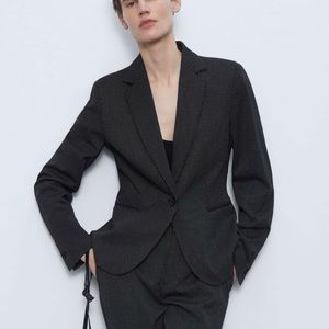 Zara textured tailor blazer sz 4 black